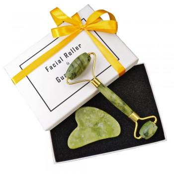Набор ролик и гуаша из зелёного нефрита в подарочной упаковке