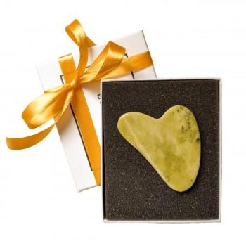 Пластина гуаша из зелёного нефрита в подарочной упаковке